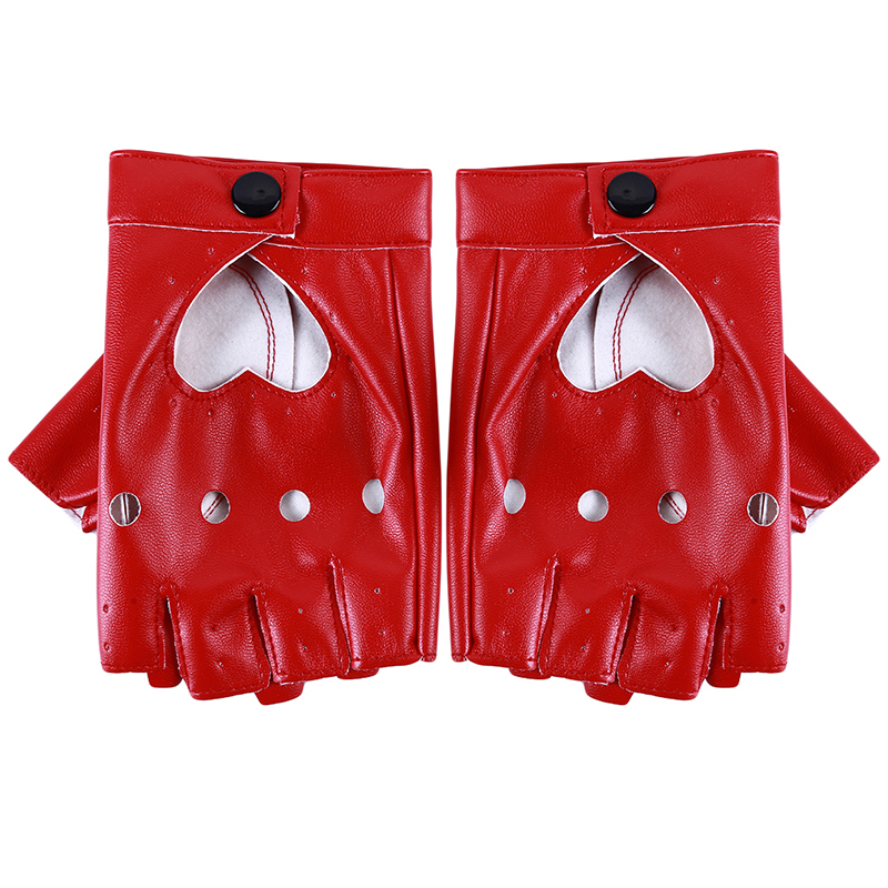 Leather Gloves Luvas Guantes Mujer For Women Girls Red Balck White Loving Heart Gloves For Women