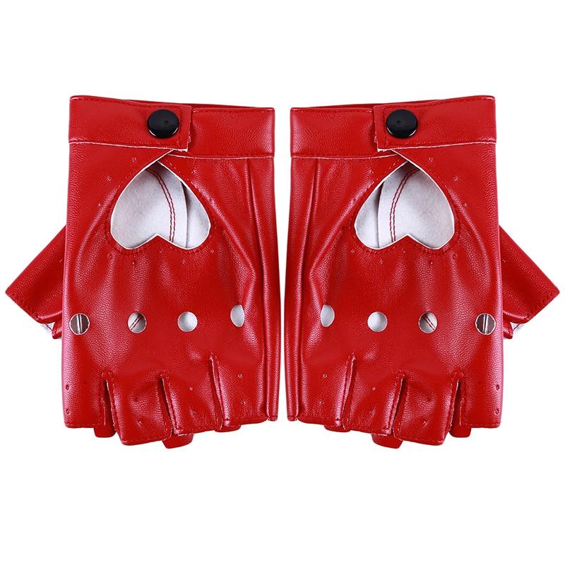 Leather Gloves Luvas Guantes Mujer For Women Girls Red Balck White Loving Heart Gloves For Women