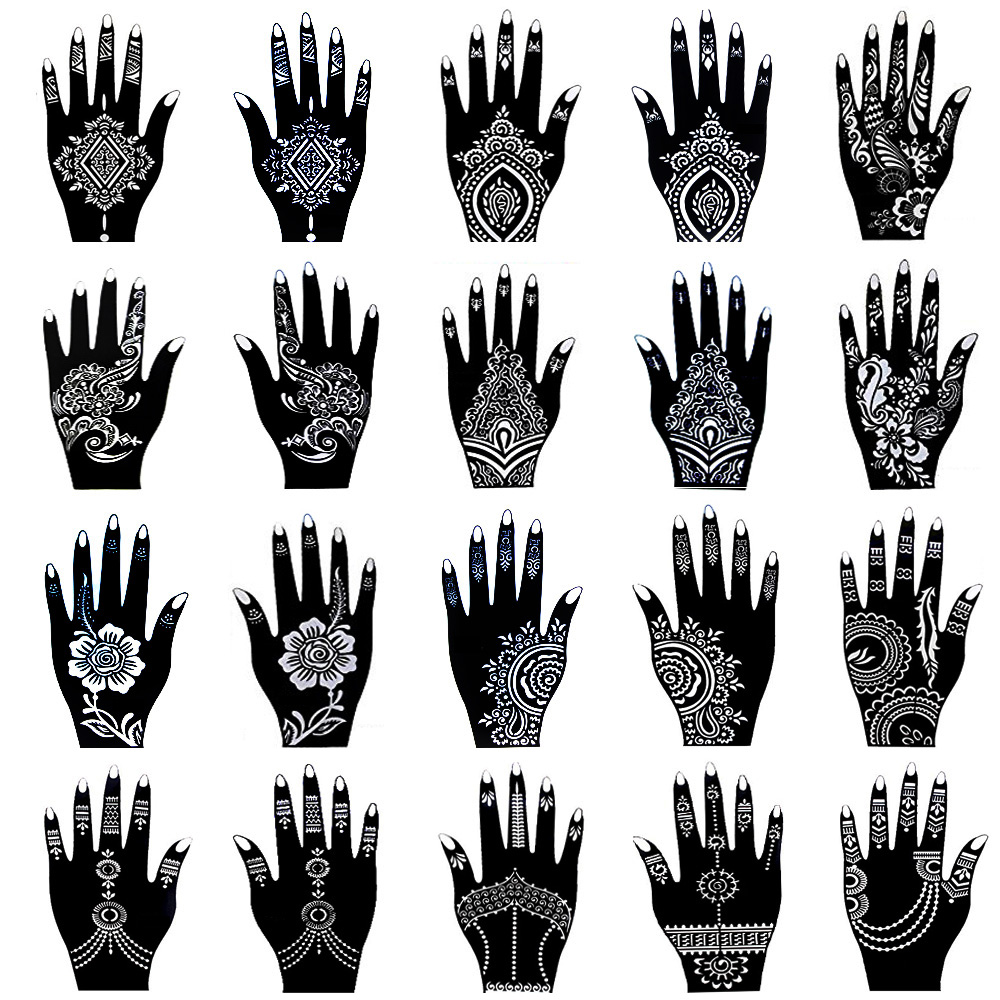 20 Pieces Henna Tattoo Stencil Kit For Women Temporary Body Art Indian Mehndi Self Adhesive Tattoo Templates For Hand Painting