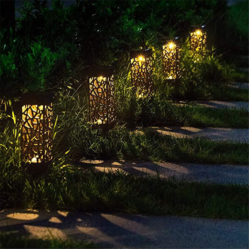 Outdoor LED Solar Powered Path Stake Lanterns Lamps Garden LED Carved Lawn Light Solar Light Pathway