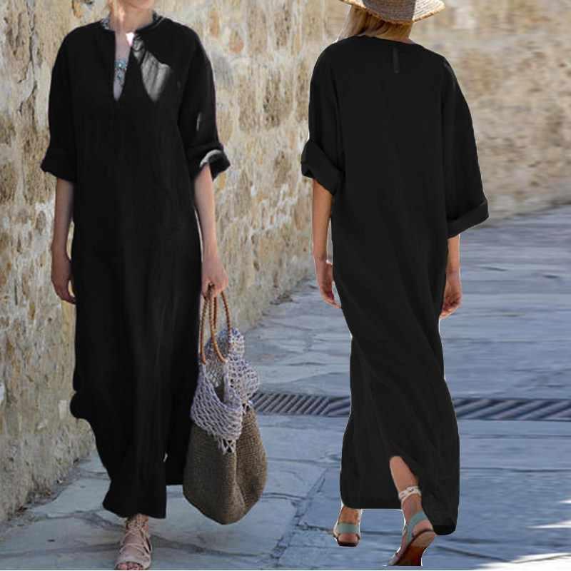 Винтажное льняное платье для женщин 2018, Осеннее, сексуальное, с глубоким v-образным вырезом, с длинным рукавом, с разрезом, однотонные, повседневные, вечерние, Макси платье с длинным рукавом, большие размеры