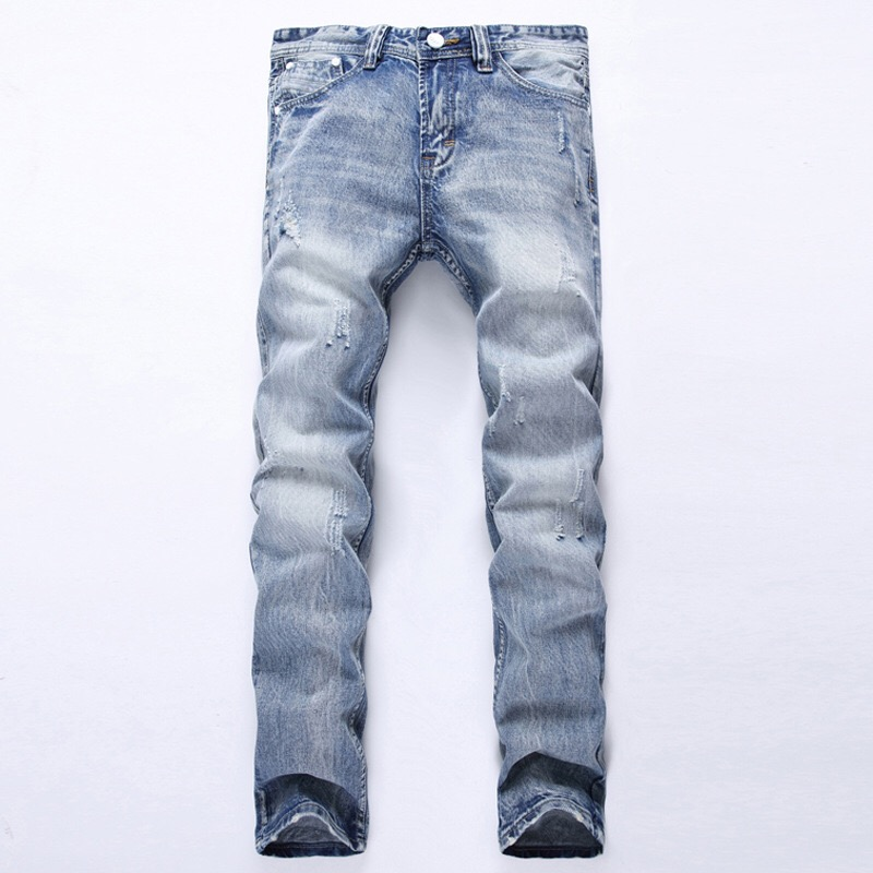 High Quality Plus Size 42 Vintage Washed Denim Jeans Skinny Pants Stretch Denim Mens jeans