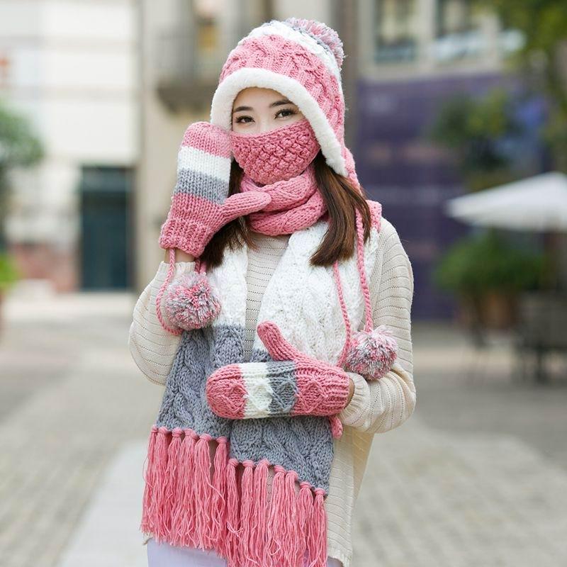 GBCNYIER femme hiver complet Protection Cap écharpe gants masque épais tricot coton froid hiver garder au chaud ensemble ajustement pour zone froide
