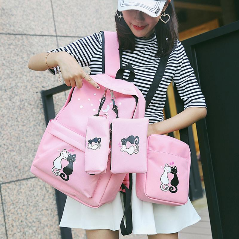 4cs/set Canvas Women Backpacks Cat Print Schoolbag Cute Cat Shoulder Bag Backpack For Teenager Girls Zipper Rucksack Moclila cute cat shape and japanese character print design satchel for women