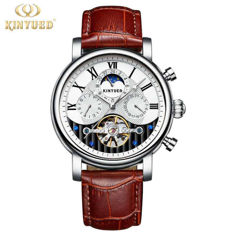 KINYUED Top Brand Mens Skeleton Watch Men Sport Tourbillon Automatic Mechanical Watches Leather Strap Luxury relogio masculino new guanqin mens watches top brand luxury tourbillon skeleton men sport leather strap waterproof automatic mechanical wristwatch