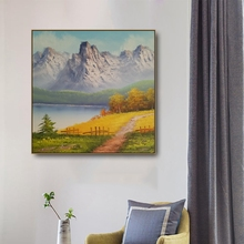 Laeacco Canvas Calligraphy Painting Natural Mountain River Posters and Prints Wall Artwork Pictures Living Room Home Decoration
