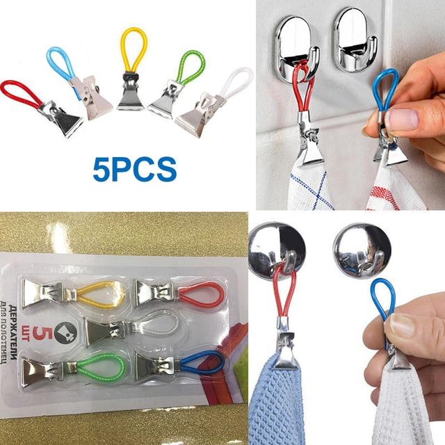5pcs Tea Towel Hanging Clips  Storage Hangers Clip on Hooks Loops Hand Towel Hangers
