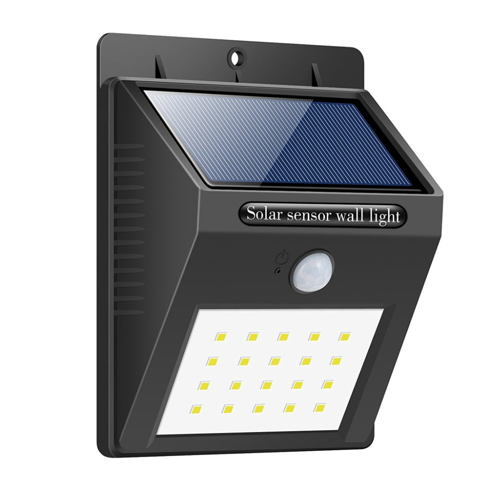 Hot Solar Panel LED Flood Security Solar Garden Light PIR Motion Sensor 20 LEDs Path Wall Lamps Outdoor Emergency Waterproof Lam