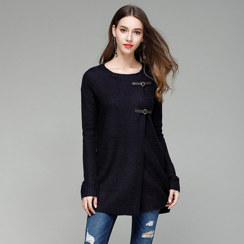 JOGTUME jesenski zimski pleteni džemper za žene Modna kožna kopča - Ženska odjeća - Foto 3