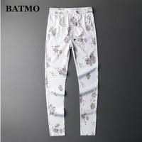 BATMO 2019 new arrival summer high quality casual printed skinny pants men,men's slim trousers ,men's pencil pants ,1016