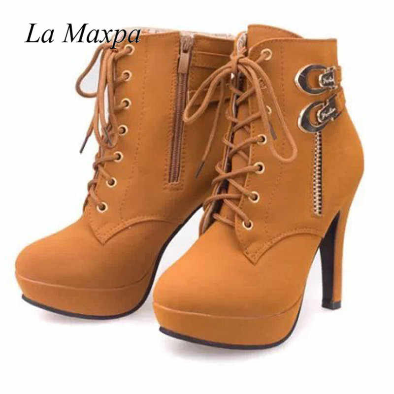 3371528464 ... 2018 New Winter Women Black High Heel Martin Ankle Boots Buckle Gothic  Punk Motorcycle Combat Boots ...