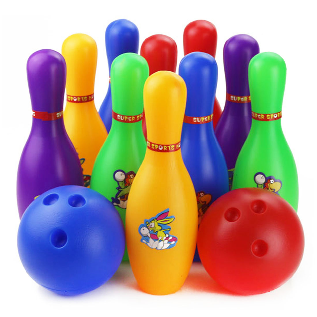 Colorful Standard 12 Piece Bowling Set w/ 10 Pins, 2 Bowling Balls Children Kids Educational Toy Party Fun Family Game (Large) taza de m&m