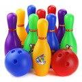 Padrão colorido 12 Peça Bowling Set w/10 Pinos, 2 Bolas De Boliche Crianças Brinquedo Educativo para crianças Partido Divertido Jogo de Família (Grande)