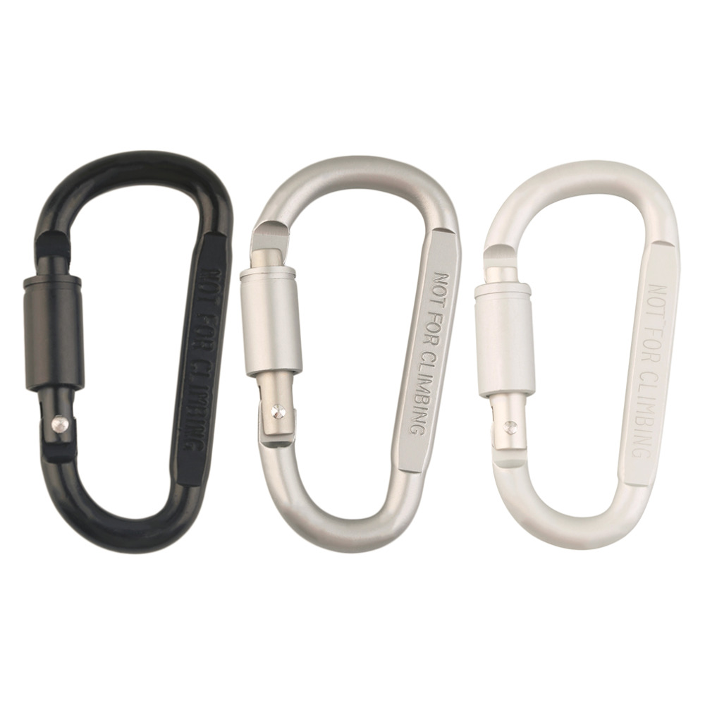 Outdoor Camping Aluminum Alloy Black Gray White climbing Carabiner Hiking D-Ring Keychain Clip Hook Buckle Sport free shipping