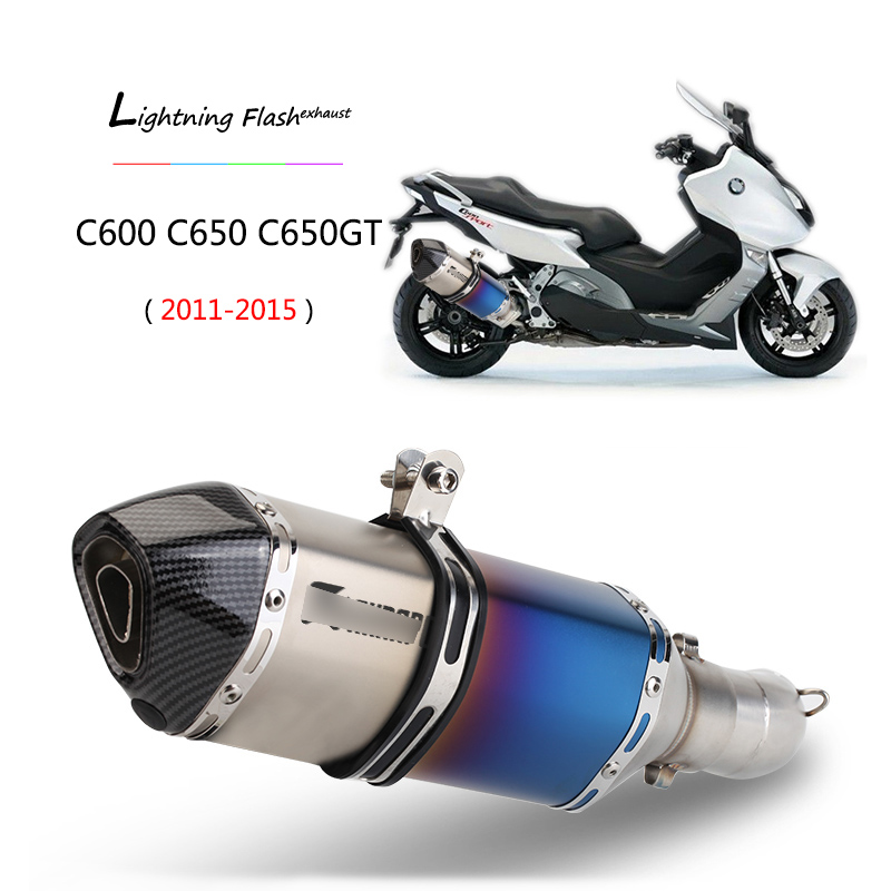 For 2011-2015 BMW C650GT C600 C650 Exhaust Pipe Motorcycle Mid Pipe Slip On 51mm Rear Escape With Removable DB Killer Muffler