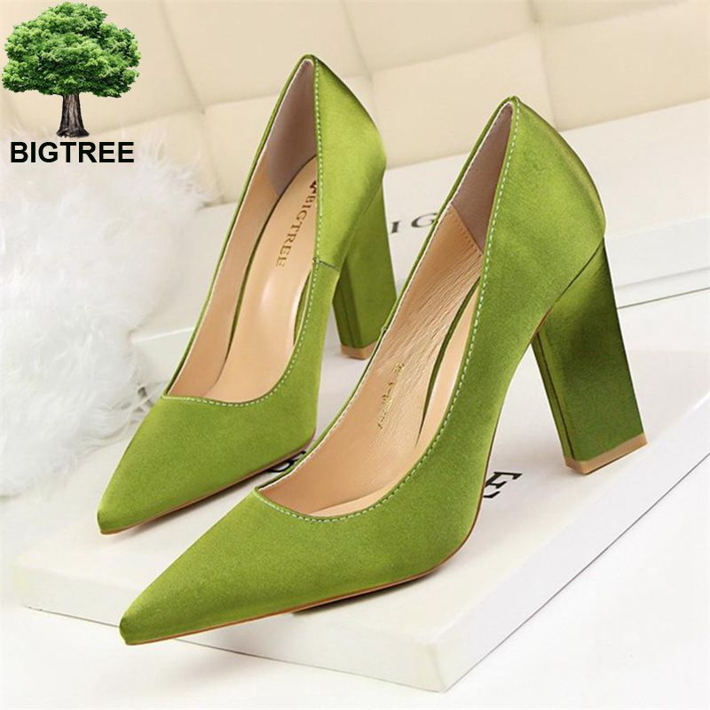 BIGTREE Pointed Toe High Square Heels 3 Material Silk/Flock/PU Shallow Women Pumps Shoes Women's Concise Office Shoes 8 Colors