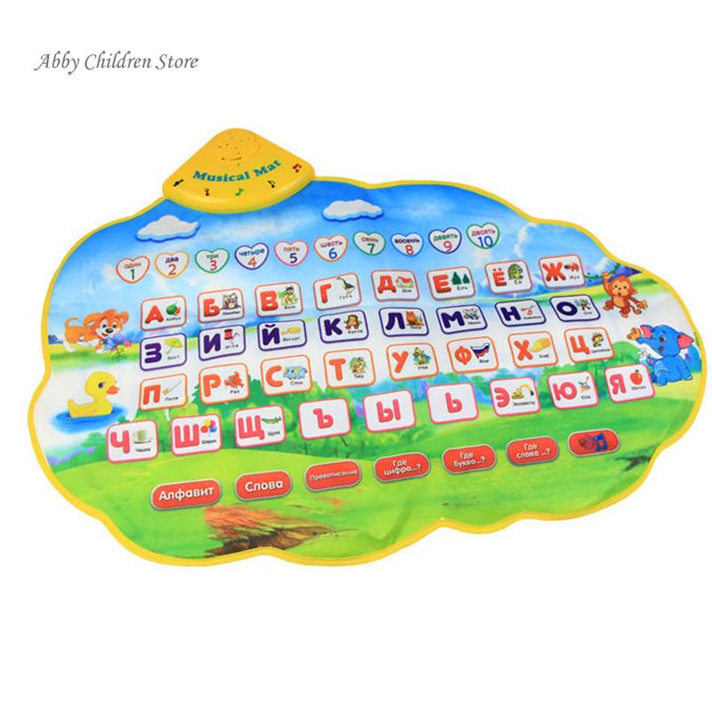 Abbyfrank Russian Alphabet Baby Play Mat ABC Nice Music Animal Sounds Educational Learning Baby Toy Playmat Carpet Gift For Kids ...