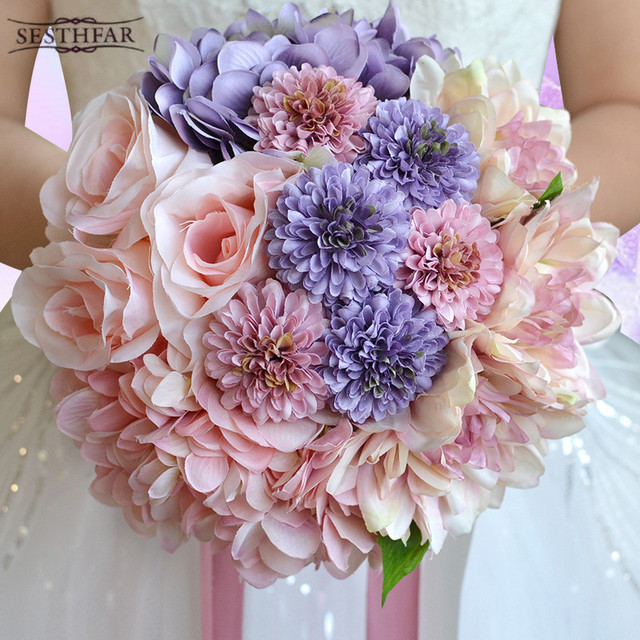 Artificial Bruidsboeket Wedding Bouquet for Brides Ribbon Flower ...