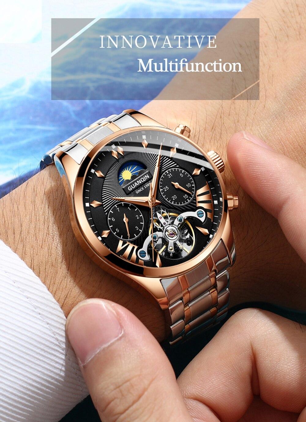 GUANQIN 2019 clock men's/mens watches top brand luxury automatic/mechanical/luxury watch men gold tourbillon mens reloj hombre