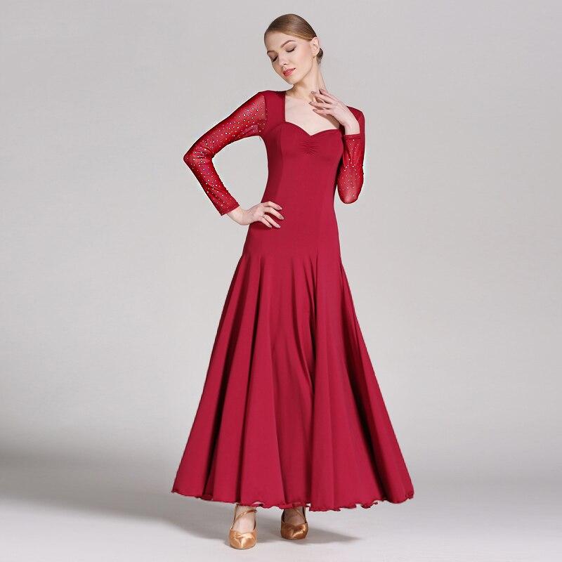 660c387164cf1e8 Бальные платье для танцев Для женщин леди Молоко Шелковый шифон с длинным  рукавом вальс платья Бальные