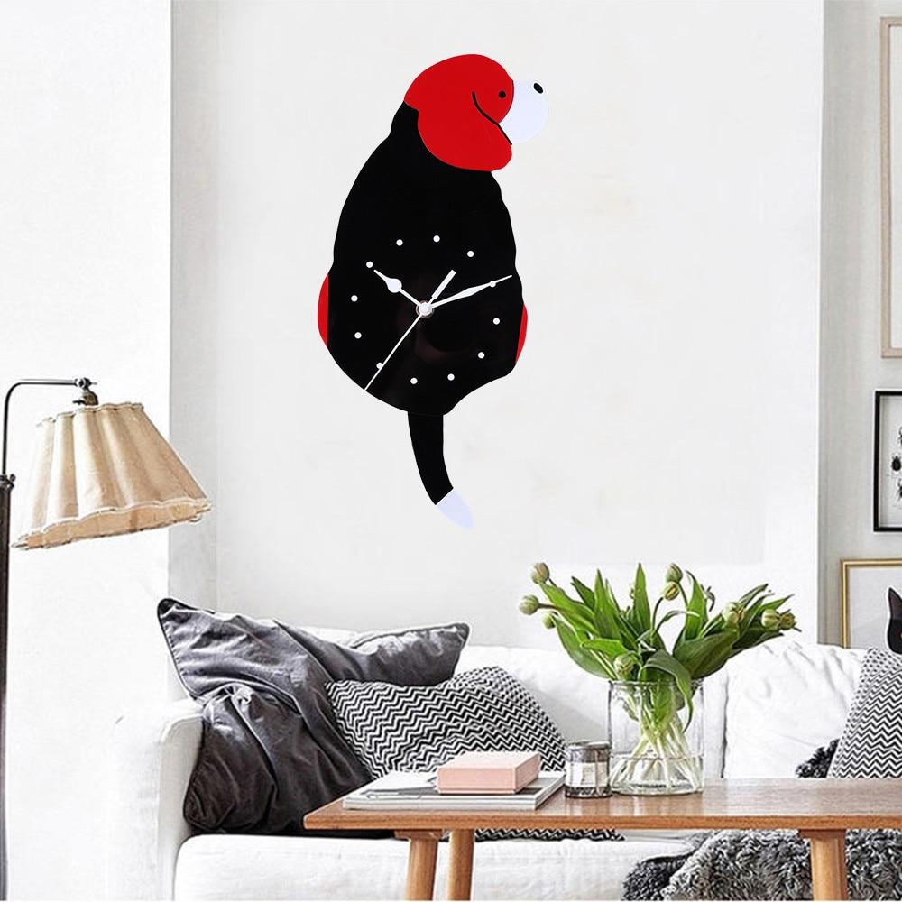 1PC HOT Wall Clocks Decor for Kids Room High Quality Cartoon Cute Dog Wall Clock Home Decor Watch Way Tail Move Silence r2