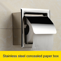 Stainless Steel Toilet Roll Paper Box Waterproof Concealed Install Tissue Holder Hot Sale