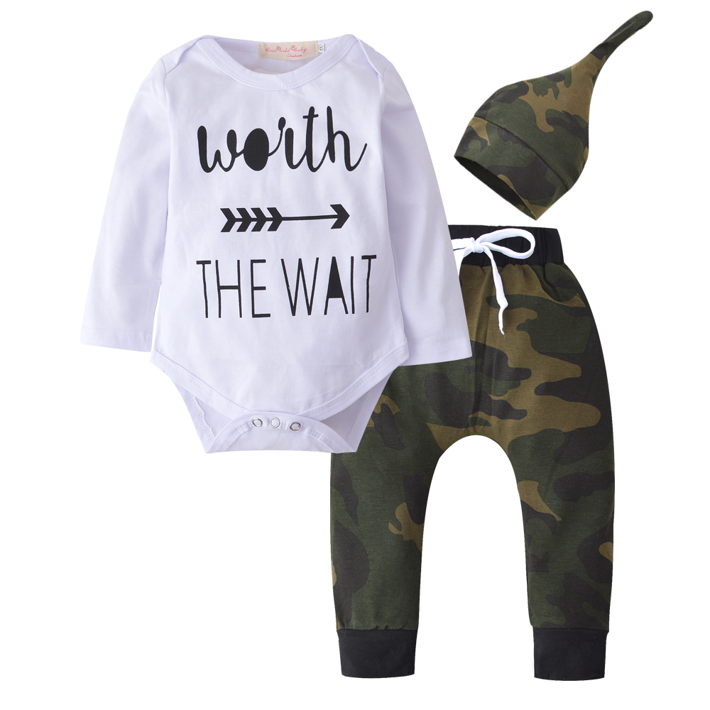 2019 New Style Newborn Baby Boys Girls Clothes Long Sleeve Letter Romper+Pants+Hat Infant 3pcs Suit Toddler Outfits Clothing Set