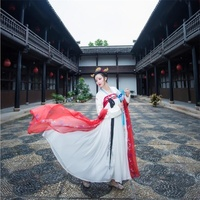 Chinese folk dance costume clothing hanfu ancient fan dance traditional Chinese dance costumes Stage dance wear DD1889