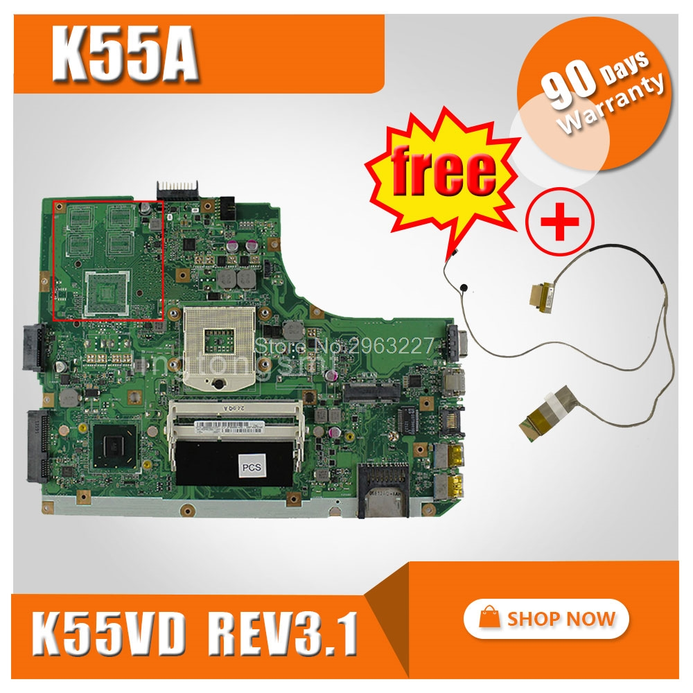 free ship cable+K55A Motherboard For ASUS k55VD K55A Laptop motherboard K55A Mainboard K55A Motherboard test 100% OK k55a motherboard rev 3 0 3 1 hm76 for asus a55v k55v k55vd laptop motherboard k55a mainboard k55a motherboard test 100% ok