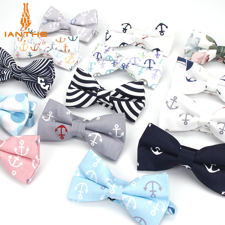 2018 Men's Formal 100% Cotton Vintage Anchor Print Bow Tie Butterfly Bowtie Tuxedo Flower Bows Prom Party Accessories Gifts