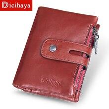 DICIHAYA, винтажный женский маленький кошелек, Женский кошелек из натуральной кожи, женский кошелек, короткий красный кошелек, Женский кошелек для монет, держатель для карт