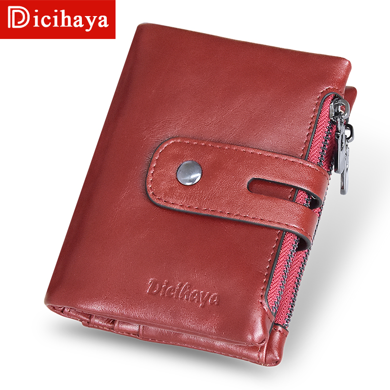 DICIHAYA Vintage Ladies Small Wallet Women Genuine Leather Purse Women Wallet Short Red Wallet Female Coin Purse Card Holder