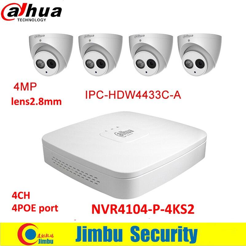 Dahua IP surveilliance system NVR kit 4CH 4K video recorder NVR4104-P-4KS2 & Dahua 4MP IP camera 4pcs IPC-HDW4433C-A dahua ip surveilliance system nvr kit 4ch 4k video recorder nvr4104 p 4ks2