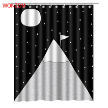 WONZOM Polyester Fabric Shower Curtains with 12 Hooks For Bathroom Decor Modern 3D Bath Waterproof Curtain Accessories