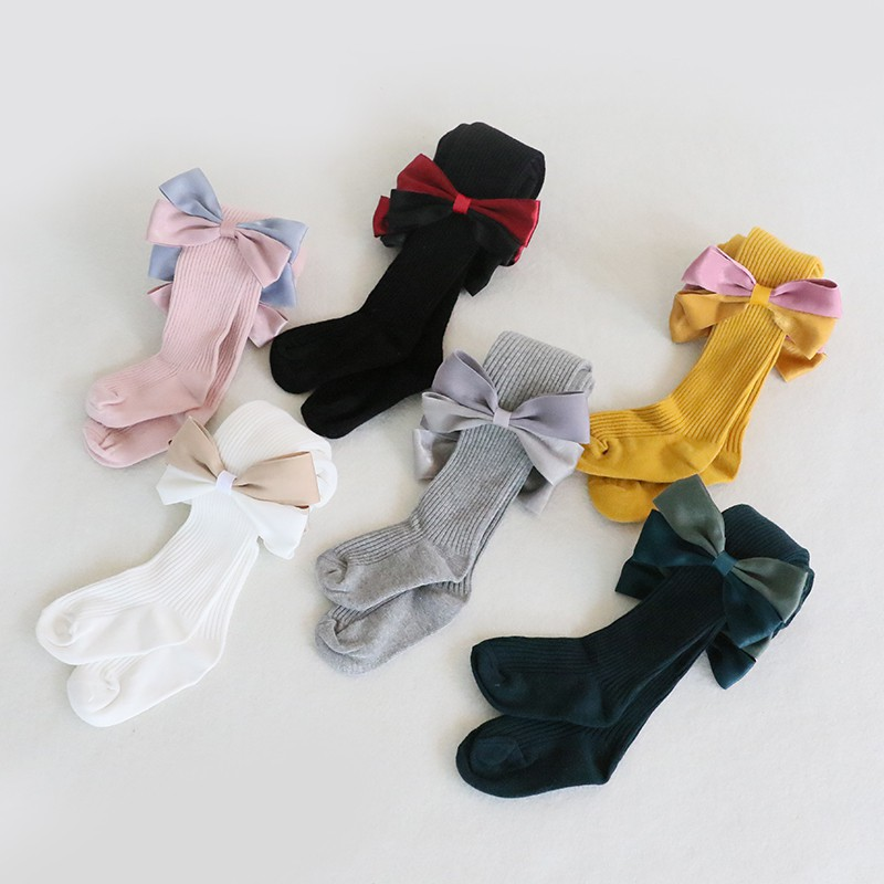 Kids Socks Toddlers Girls Big Bow Knee High Long Soft Cotton Lace Baby Socks Kids
