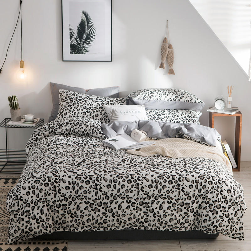 Nordic Black White Grey Bedding Set Twin Queen King size 100 Cotton Flat Bed Sheet set