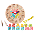 Children Colorful Digital Geometry Clock Puzzle Wooden Zodiac Cognitive Educational Toys for Kids Gift
