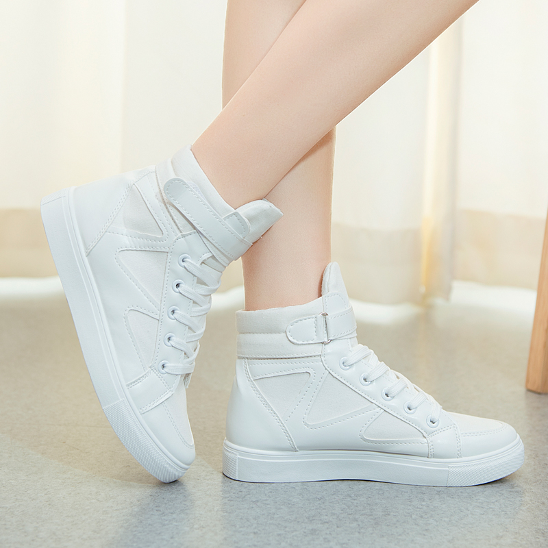 Women Sneakers 2018 Spring Autumn Fashion High Top Canvas Shoes Women Casual Shoes Flat Female Basket Lace Up Solid Trainers