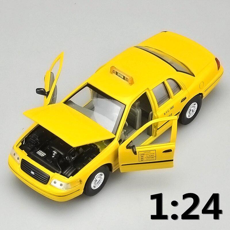 Alta simulação supercarro, escala 1:24 liga 1999 ford crown victoria táxi, coleção metal modelo toys, frete grátis