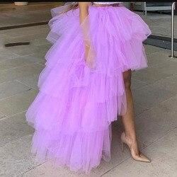 Faldas de tul lavanda alta baja 2019 High Street hecho a medida Falda larga de tul escalonado para mujeres para fiesta falda de tul Maxi femenina