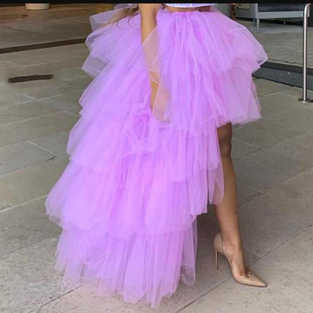 Lawendy wysokiej niskie tiulowe spódnice 2019 High Street wykonane na zamówienie długie wielowarstwowa Tulle spódnica kobiety do Party kobiet Maxi tiulowa spódnica w Spódnice od Odzież damska na  Grupa 1