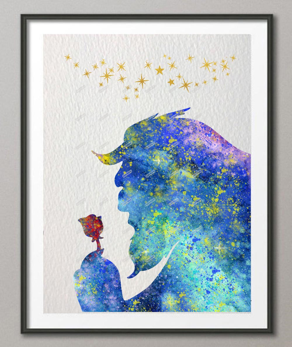 Beauty and the beast original watercolor canvas painting wall art poster print pictures kids room home decor wall hanging gifts