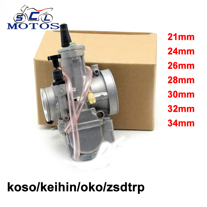 Sclmotos- Motorcycle Carburetor Parts Modification 21 24 26 28 30 32 34mm PWK KOSO OKO Carb With Power Jet Fit Race Scooter ATV