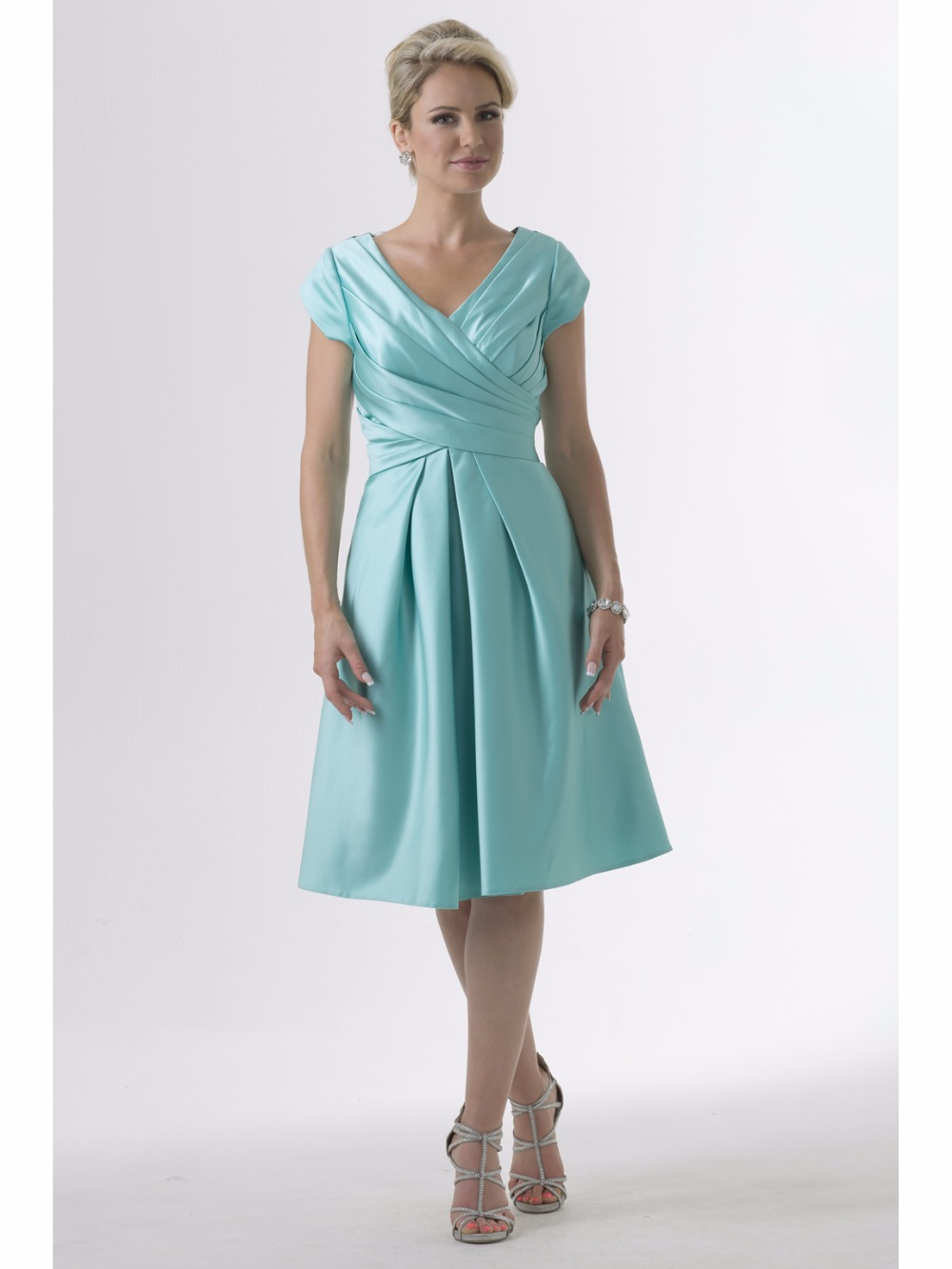 Mint Satin Short Modest Bridesmaid Dresses With Cap Sleeves V Neck A ...