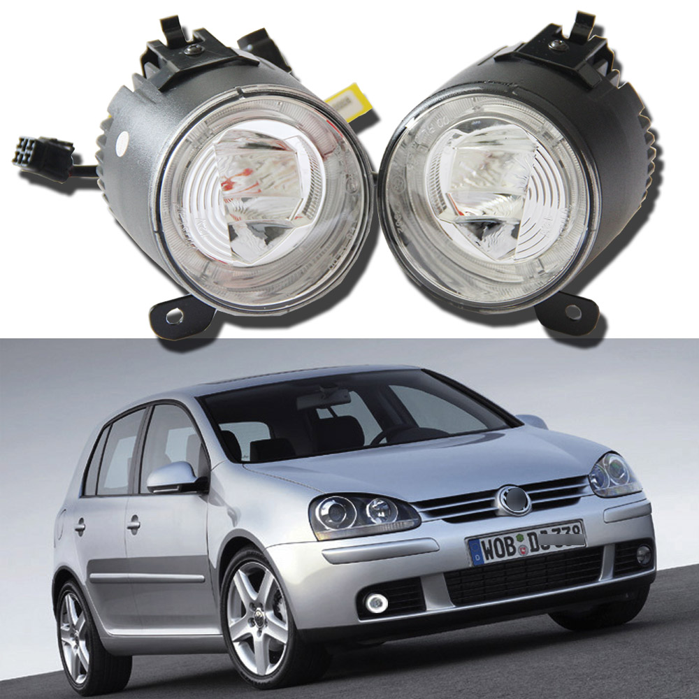 Left Right Side Cree chips LED Fog Lights Bright White Lamp For Volkswagen VW Golf V 5  2003 to 2008 Drl daylight Car Styling free shipping for vw touareg 2015 2016 new led car fog light fog lamp right side passenger side