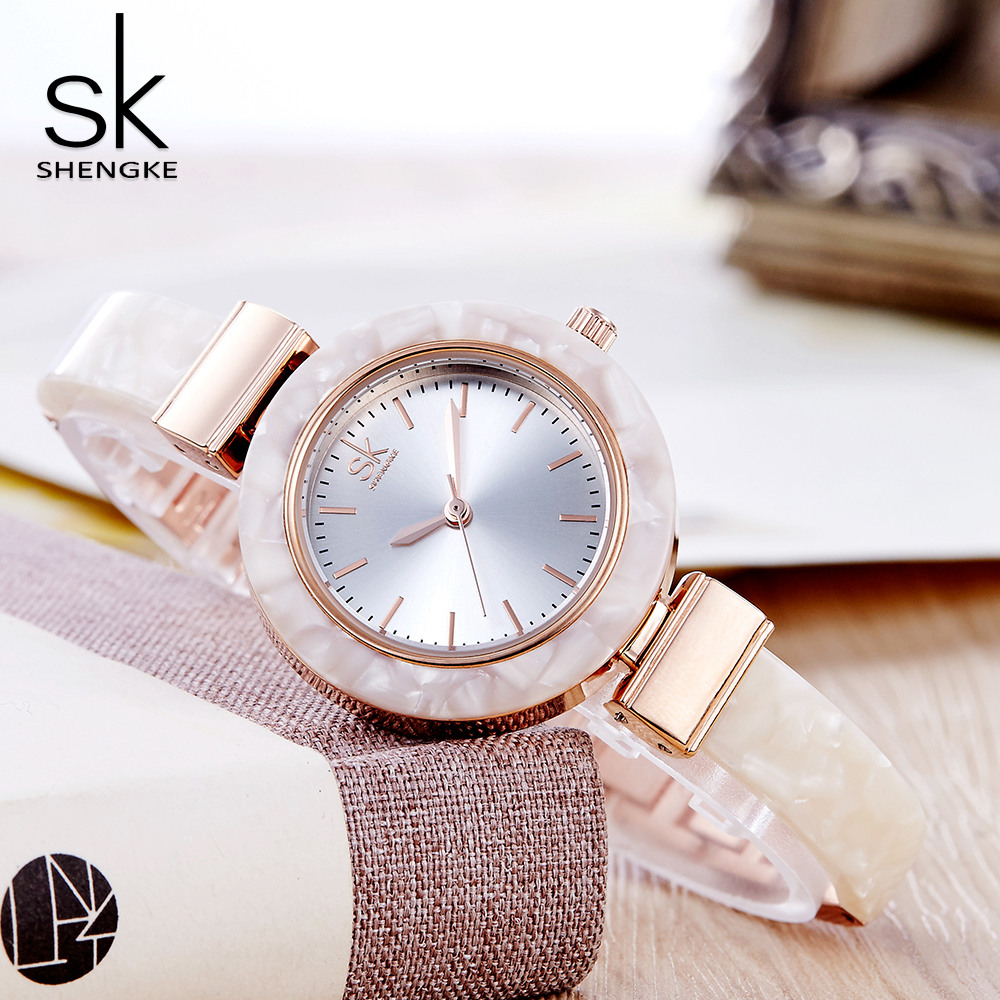 Shengke White Ceramic Style Women Watches Fashion Creative Top Brand Ladies Watch 2018 New Bracelet Montre Femme Wrist Watches