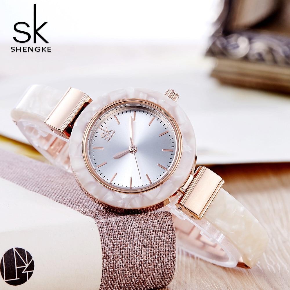 Shengke White Ceramic Style Women Watches Fashion Creative Top Brand Ladies Watch 2018 New Bracelet Montre Femme Wrist Watches