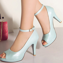 Women Summer Thin High Heel Platform Red Bottom Ankle Wrap Open The Toe Fashion Casual Sandals Shoes Plus Size 34-43 SXQ0616
