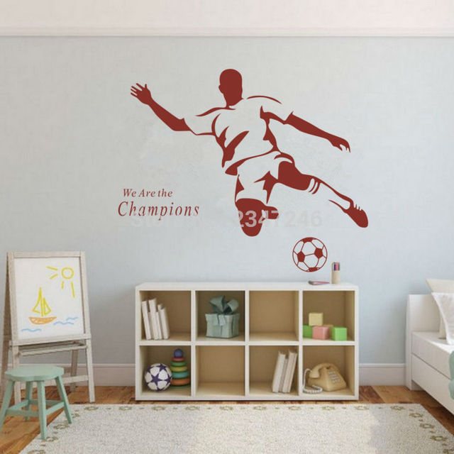 High Quality We Are The Champions Quotes Wall Decal Soccer Football Male Player Sticker  For Men Boys Kids Part 13