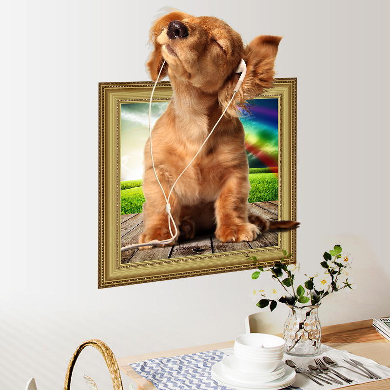 % 3d cartoon Cute Dogs animal home decal wall sticker for kids room bedroom Frame decorative party gift Art poster wallpaper